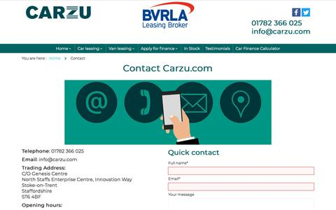 Screenshot of Contact Page carzu.com - Contact us - captured Feb. 20, 2020