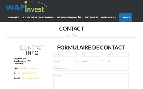 Screenshot of Contact Page wapinvest.be - Contact – Wapinvest - captured Sept. 29, 2018