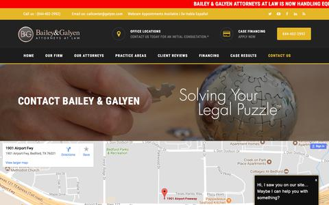 Screenshot of Contact Page thetexasattorney.com - Contact Bailey & Galyen - Dallas Fort Worth Arlington Houston - captured Oct. 9, 2017
