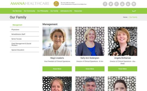 Screenshot of Team Page amanahealthcare.com - Meet The Team: Management - Amana Healthcare - captured July 25, 2016