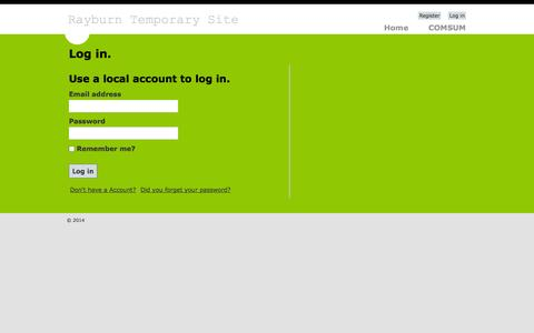 Screenshot of Login Page rayburnelectric.com - Log in - Rayburn Temporary - captured Oct. 26, 2014