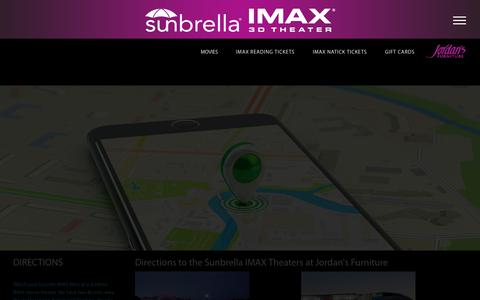 Screenshot of Maps & Directions Page jordans.com - Directions to the Sunbrella IMAX 3D Theaters at Jordan's Furniture stores in Natick and Reading MA - captured Nov. 22, 2018