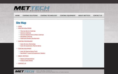 Screenshot of Site Map Page mettech.com - Site Map | Northwest Mettech Corp. [keywords] - captured Oct. 26, 2014