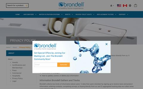 Screenshot of Privacy Page brondell.com - Privacy Policy  | Brondell - captured Oct. 17, 2016