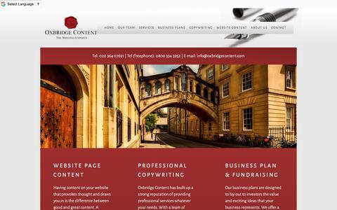 Screenshot of Home Page oxbridgecontent.com - Copywriting - Business Plan Writing - Web Page Content - Oxbridge Content - Copywriting and Website Content - captured Sept. 20, 2018