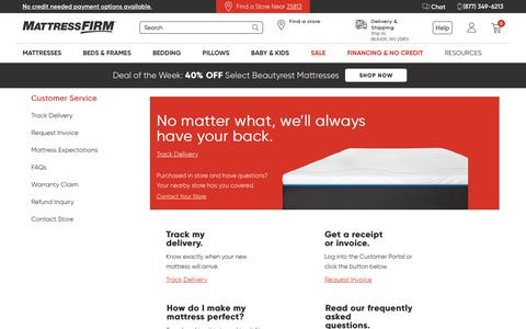 Screenshot of Support Page mattressfirm.com - Mattress Firm Customer Service - captured Feb. 8, 2020
