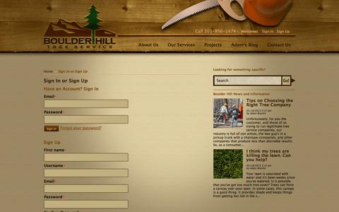 Screenshot of Signup Page boulderhilltree.com - Sign In or Sign Up - Boulder Hill Tree Service - captured Oct. 5, 2014