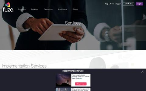 Screenshot of Services Page fuze.com - Professional Services I Fuze - captured Jan. 20, 2018