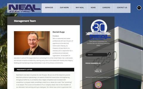 Screenshot of Team Page nealelectric.com - Management Team - Neal Electric - captured Oct. 7, 2014