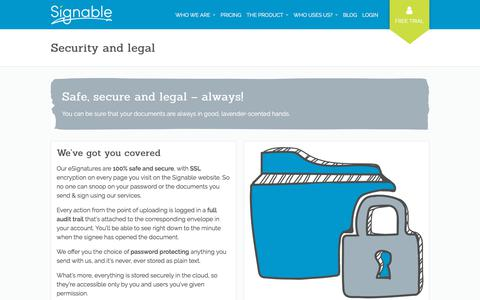 Screenshot of Terms Page signable.co.uk - Security and legal - Signable - captured April 17, 2018