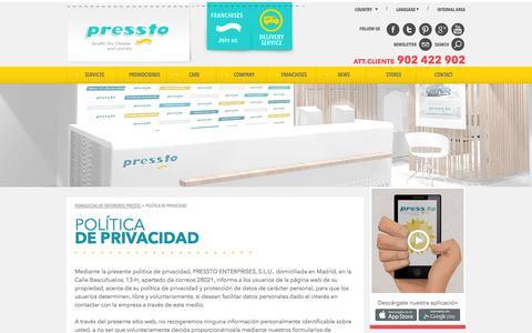 Screenshot of Privacy Page pressto.es - Política de privacidad | Franquicias de Tintorerías Pressto - captured Oct. 2, 2014