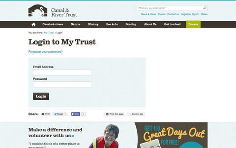 Screenshot of Login Page canalrivertrust.org.uk - Canal & River Trust - captured Sept. 19, 2014