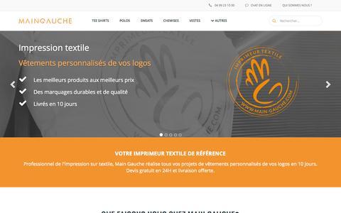 Screenshot of Home Page main-gauche.com - Main Gauche : Impression textile - Vêtements personnalisés - captured Sept. 17, 2015