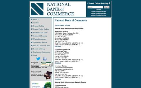 Screenshot of About Page nationalbankofcommerce.com - National Bank of Commerce - captured Oct. 27, 2014