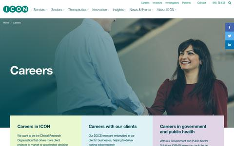 Screenshot of Jobs Page iconplc.com - Digital disruption and clinical trials | AI | Wearables | RWD - captured Jan. 12, 2020