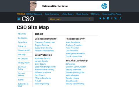 Screenshot of Site Map Page csoonline.com - Sitemap - captured Sept. 19, 2014