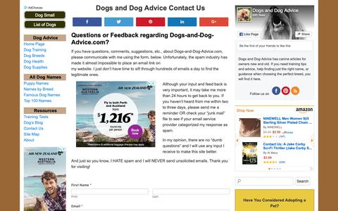 Screenshot of Contact Page dogs-and-dog-advice.com - Dogs and Dog Advice Contact Us - captured Oct. 31, 2018