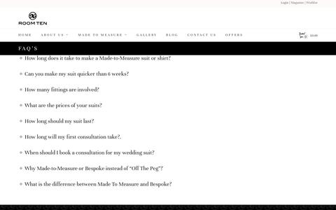 Screenshot of FAQ Page roomten.co.uk - FAQ's | Roomten London - captured Aug. 15, 2016