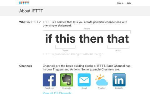 Screenshot of About Page ifttt.com - About IFTTT - IFTTT - captured July 20, 2014