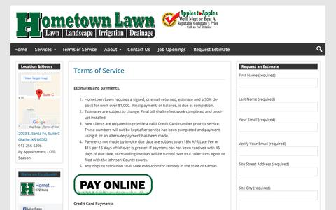 Screenshot of Terms Page hometownlawn.com - Hometown Lawn Terms of Service | Hometown Lawn, LLC - captured Dec. 15, 2018