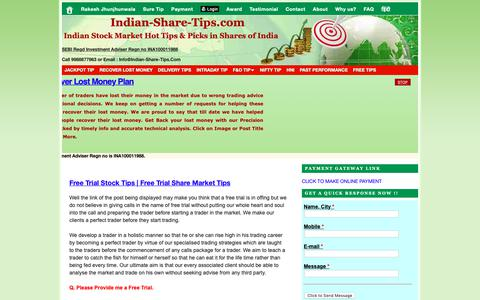 Screenshot of Trial Page indian-share-tips.com - Free Trial Stock Tips | Free Trial Share Market Tips | Indian Stock Market Hot Tips & Picks in Shares of India - captured Dec. 12, 2018