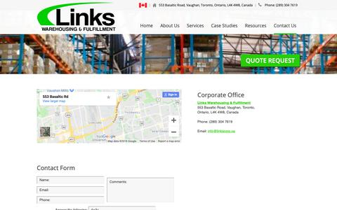 Screenshot of Contact Page linkscorp.ca - Contact Us - Links Warehousing and Fulfillment Toronto - captured Sept. 29, 2018