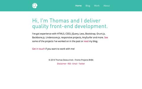 Screenshot of Home Page fronto.be - Fronto - freelance frontend development - captured Sept. 30, 2014