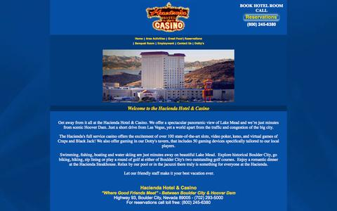 Screenshot of Home Page haciendaonline.com - The Hacienda Hotel & Casino invites you to enjoy the excitement ofgaming, fine dining, entertainment and spacious accommodations in beautiful Boulder City, Nevada. - captured Oct. 1, 2014