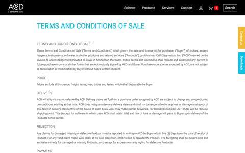 Screenshot of Terms Page acdbio.com - TERMS AND CONDITIONS - captured Nov. 5, 2016