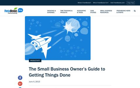 Screenshot of Blog freshbooks.com - The Small Business Owner's Guide to Getting Things Done | FreshBooks Blog - captured Dec. 5, 2017