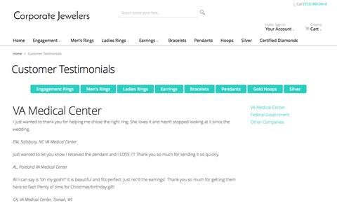 Screenshot of Testimonials Page corporatejewelersinc.com - Customer Testimonials - captured Nov. 12, 2016
