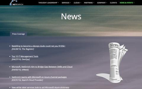 Screenshot of Press Page netenrich.com - IT Infrastructure & Management Services- NetEnrich News - captured July 6, 2016