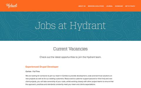 Screenshot of Jobs Page hydrant.co.uk - Jobs at Hydrant | Hydrant - captured June 22, 2017