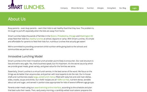 Screenshot of About Page smartlunches.com - Smart Lunches | About Us - captured Oct. 28, 2014