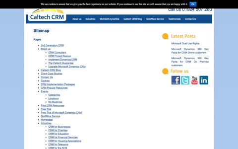 Screenshot of Site Map Page caltech.co.uk - Sitemap   Caltech CRM - captured July 12, 2017