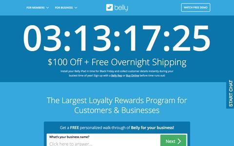 Screenshot of Home Page bellycard.com - Business Customer Loyalty Program | Belly - captured Nov. 18, 2016