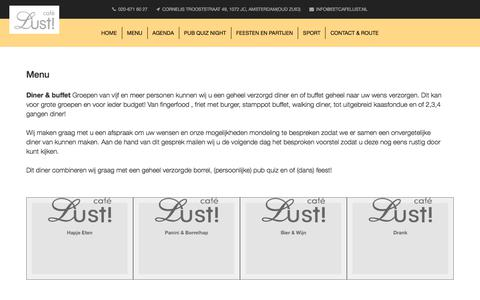 Screenshot of Menu Page eetcafelust.nl - Eetcafe Lust - captured July 16, 2018
