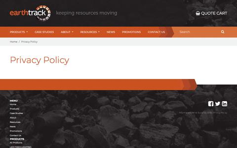 Screenshot of Privacy Page etms.com.au - Privacy Policy | Earthtrack Mine Supplies - captured July 26, 2018
