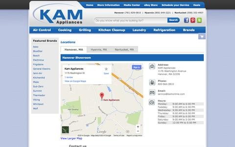Screenshot of Contact Page Locations Page kamonline.com - Contact KAM Appliances in Massachusetts - captured Oct. 23, 2014