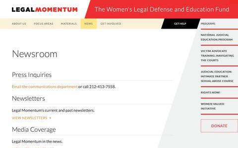 Screenshot of Press Page legalmomentum.org - Newsroom | Legal Momentum - captured Dec. 8, 2018