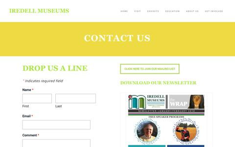 Screenshot of Contact Page iredellmuseums.org - Contact Us - IREDELL MUSEUMS - captured Sept. 20, 2018