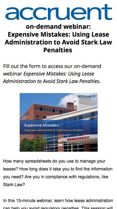 on-demand webinar | Expensive Mistakes: Using Lease Administration to Avoid Stark Law Penalties