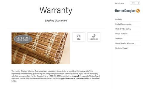 Warranty | Hunter Douglas