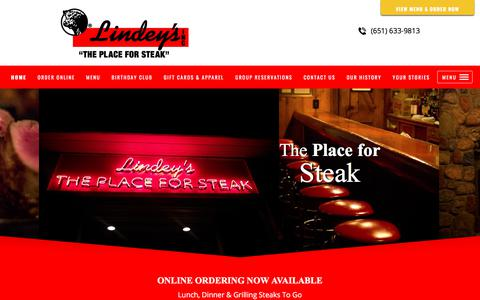 Screenshot of Home Page theplaceforsteak.com - Lindey's Prime Steak House, Restaurant and Bar, Casual Dining. Arden Hills, MN - captured Aug. 14, 2017