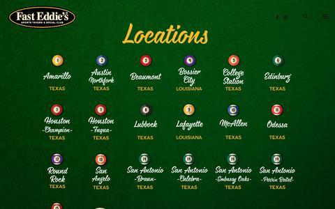Screenshot of Locations Page fasteddiesbilliards.com - LOCATIONS – Sports Tavern & Social Club - captured June 5, 2017