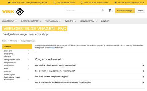 Screenshot of FAQ Page vinkkunststoffen.nl - Veelgestelde vragen FAQ | Vink Kunststoffen - captured Oct. 18, 2018