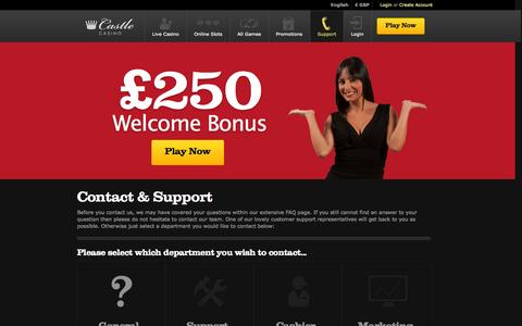 Screenshot of Support Page castlecasino.com - Customer Support | Get Instant Assistance At Castle Casino - captured Nov. 1, 2014