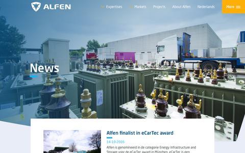 Screenshot of Press Page alfen.com - News - captured Oct. 17, 2016