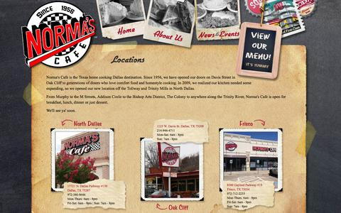 Screenshot of Locations Page normascafe.com - Locations | Norma's Cafe - captured Oct. 26, 2014