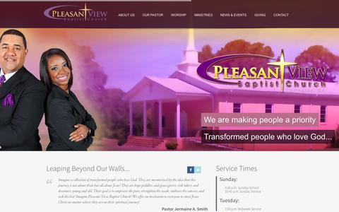 Screenshot of Home Page pleasantviewbap.org - Pleasant View Baptist Church Covington, GA - captured Sept. 19, 2015